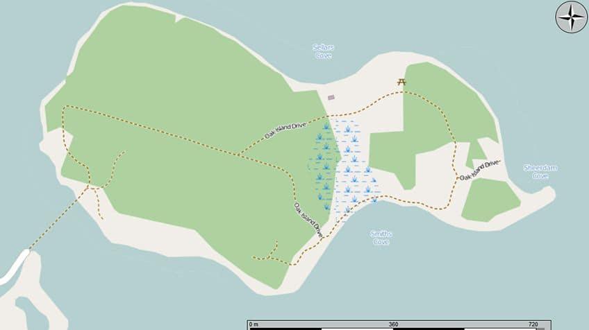 Google map of Oak Island, Nova Scotia.