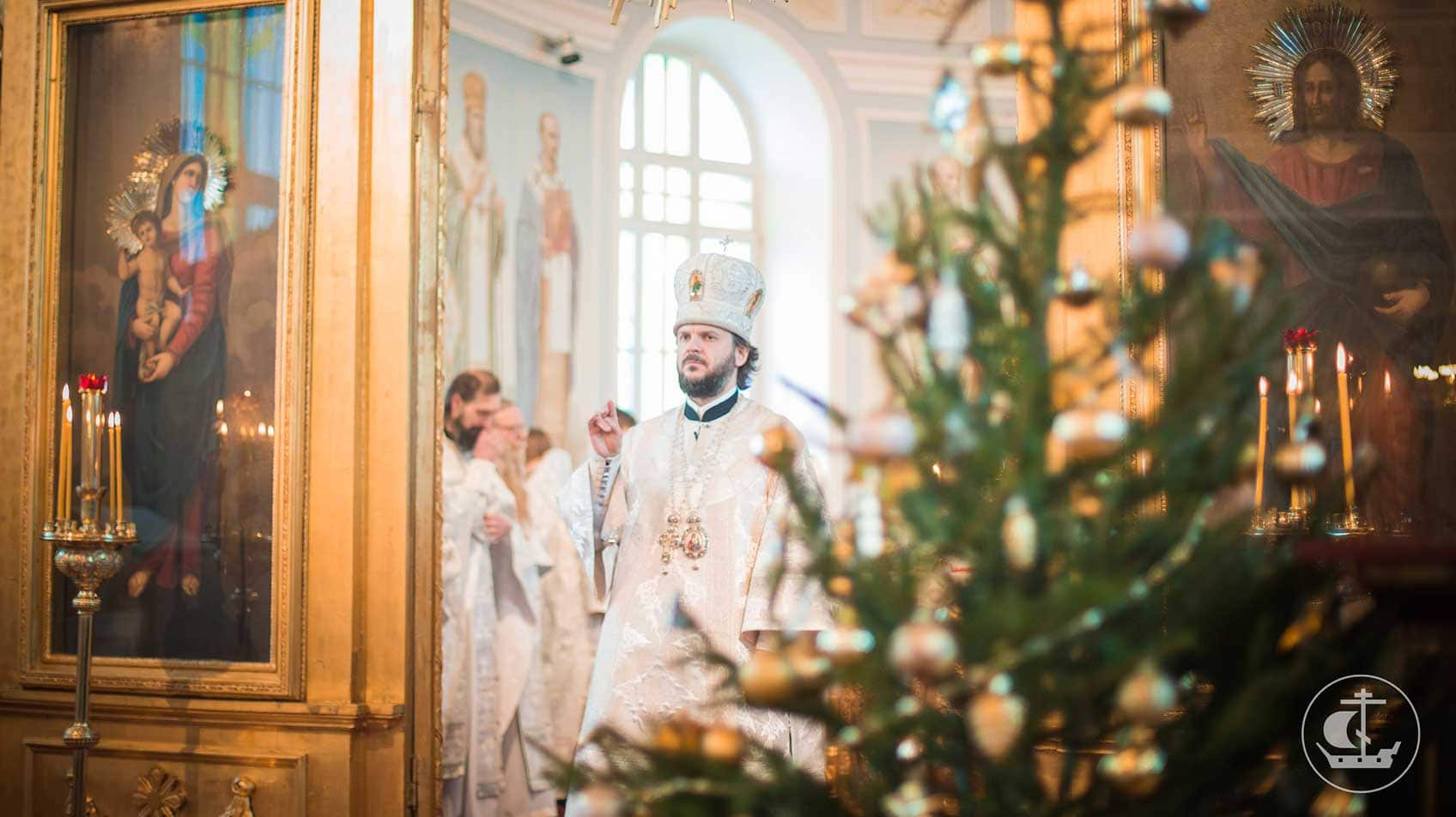 Orthodox Christmas mass in a church in St. Petersburg, Russia