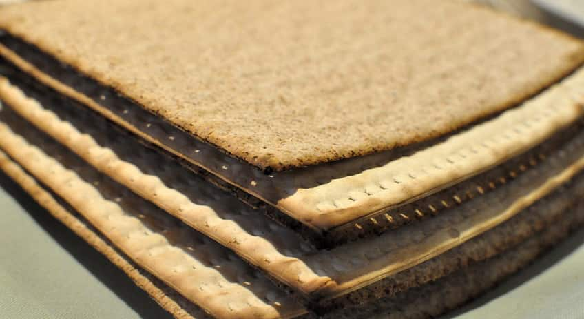 a stack of matzah crackers