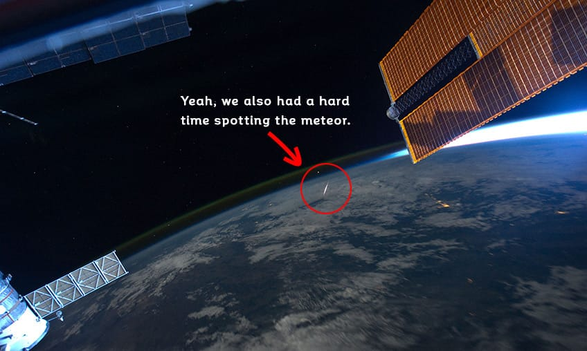 a photo from space of a meteor