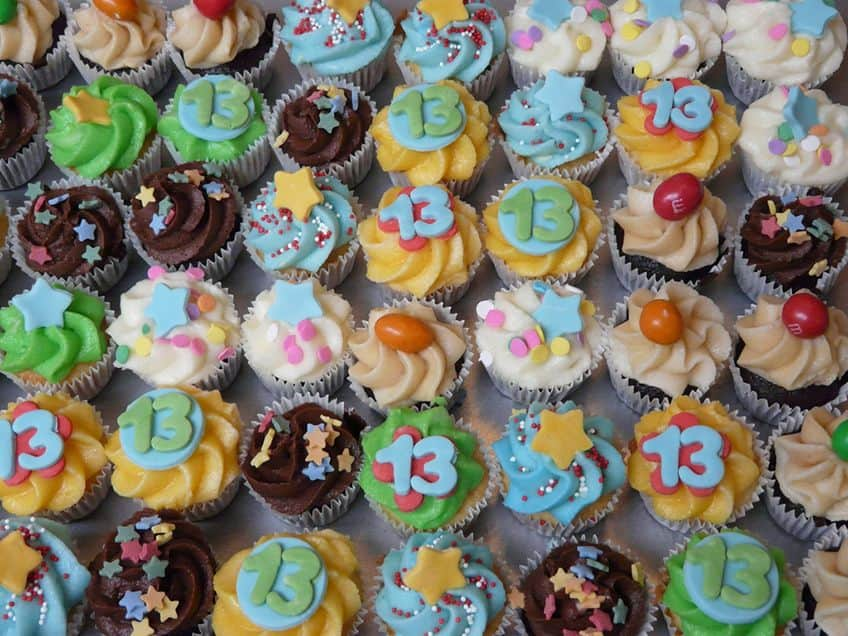 cupcakes with number 13 as decoration