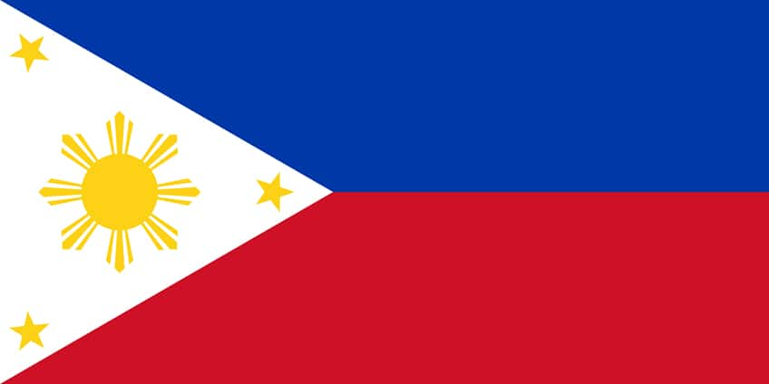 the official flag of the Philippines with description below in the text