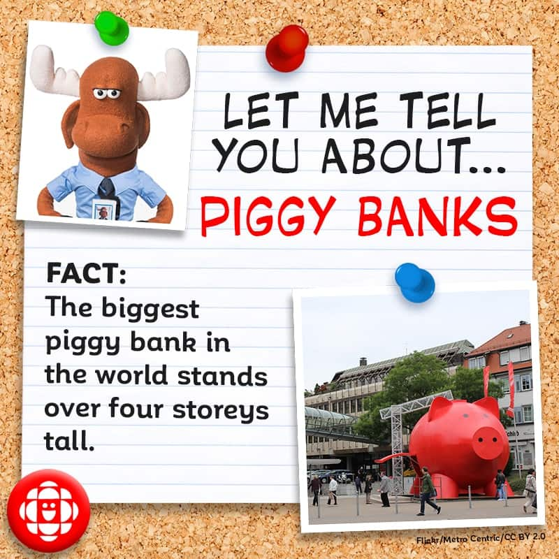 The biggest piggy bank in the world stands over four storeys tall.