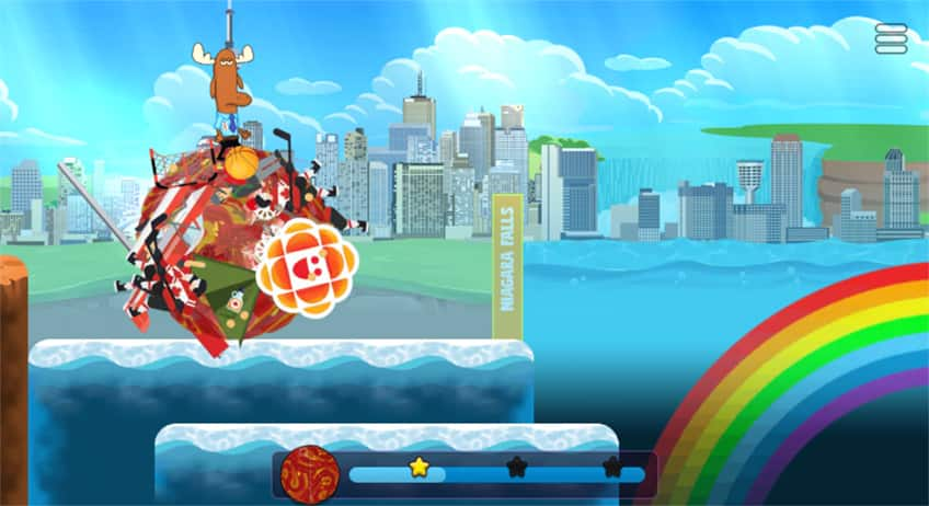 screenshot from game of Mr. Orlando on his clump going past Niagara Falls
