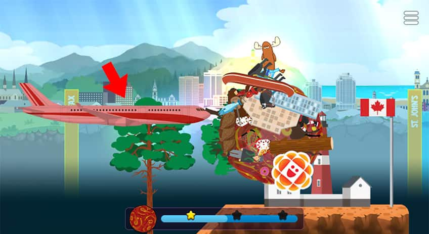 screenshot from the game showing Mr. Orlando's clump hitting a flashiong plane