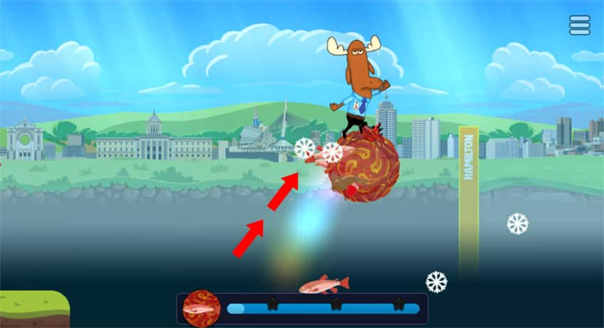 screenshot showing Mr. Orlando on his clump jumping high into the air