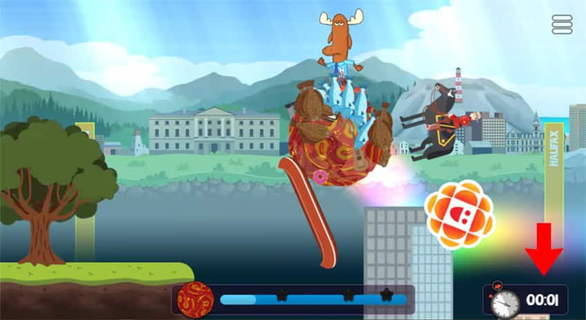 a screenshot of the game showing Mr. Orlando getting to the end of the level and turning back around