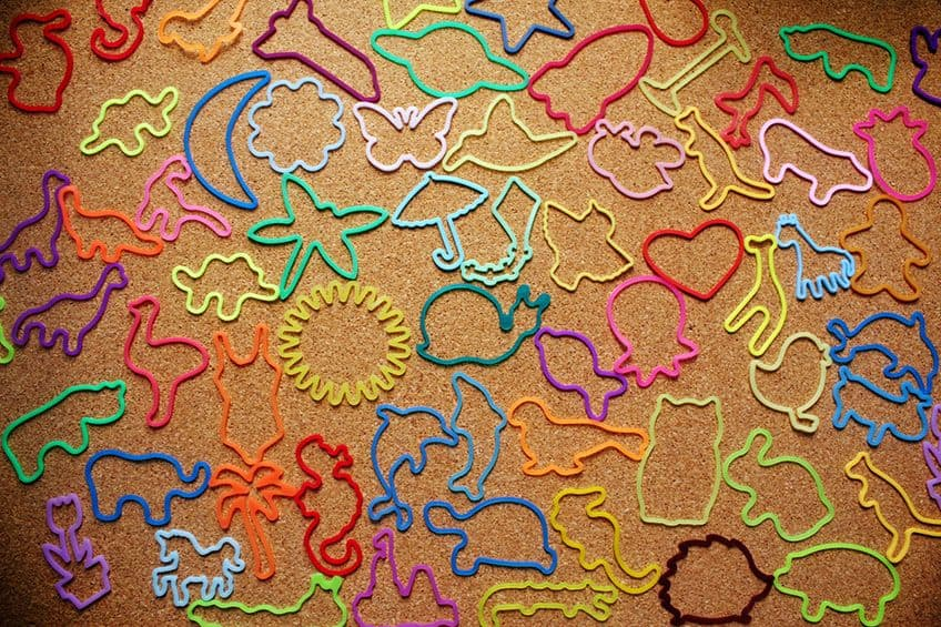 silly bandz on a table so you can see all the shapes