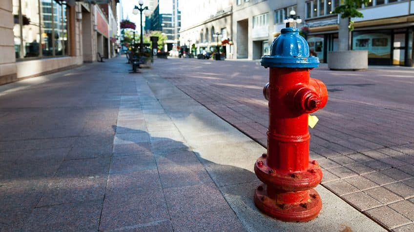 Red and blue fire hydrant.