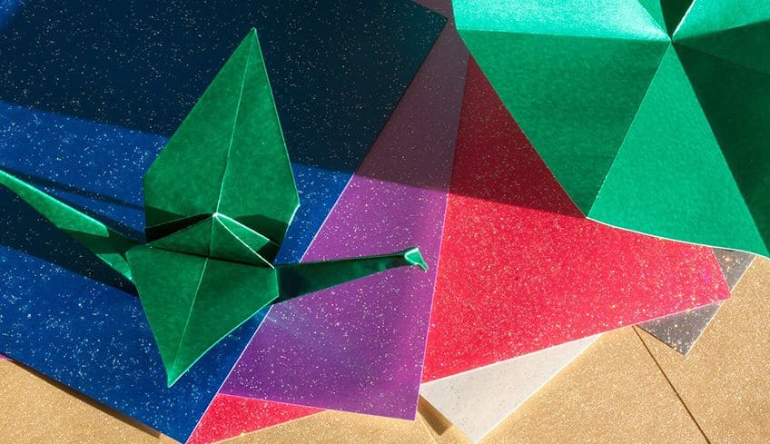 colourful origami crane