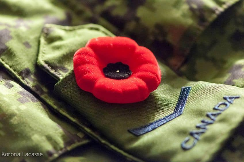 Remembrance Day poppy on a uniform