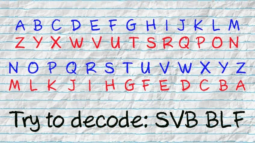 The alphabet written out from A to Z with the reverse underneath so A = Z, B = Y, C = X and so on -- plus a code to try and decipher: SVB BLF