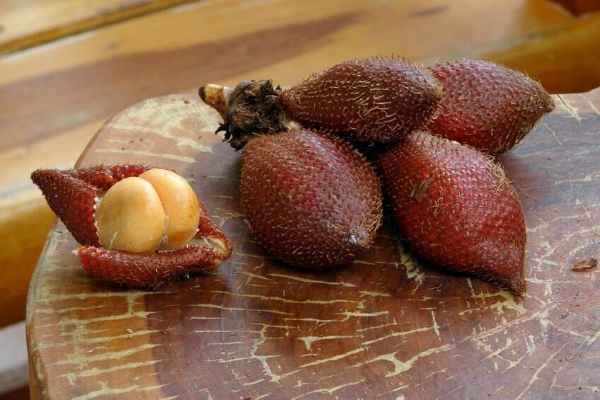 A bushel of salak on a table