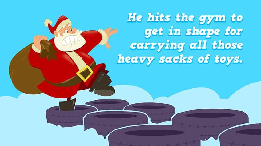 Santa runs through tires while holding a bag of toys.