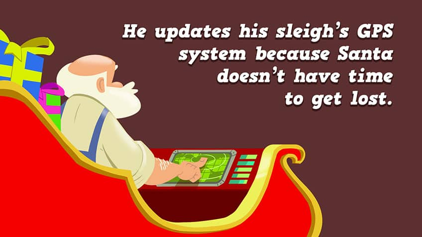 Santa is in his sleigh fiddling with his GPS.