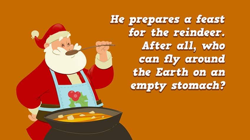 Santa, wearing an apron, tastes his homemade stew.