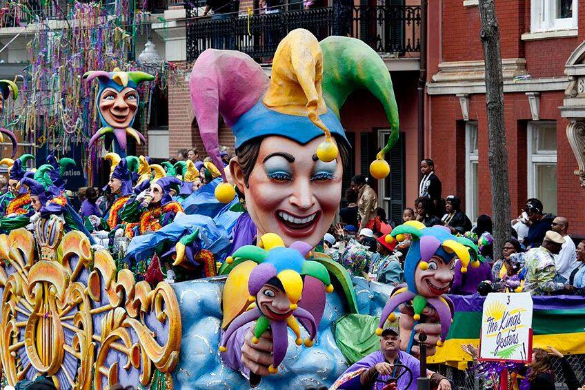 Mardi Gras parade with floats