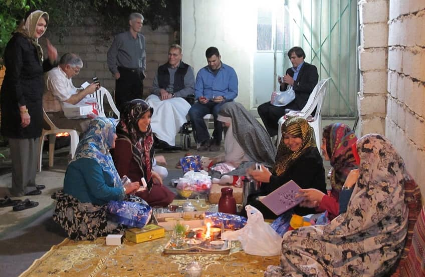 Iranian family getting together for the spring feast of Nowruz