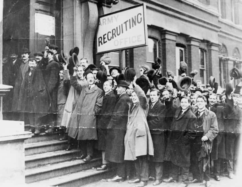 photo of men waiting to sign up at an army recruiting office