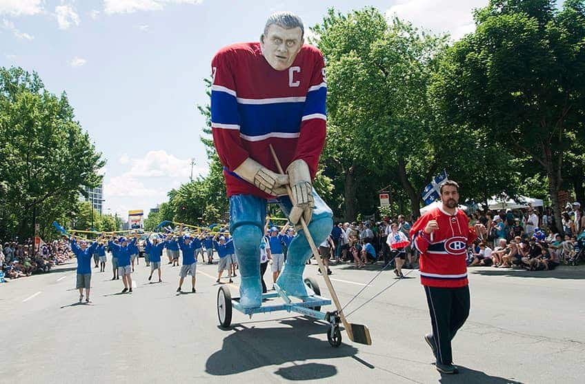 It's a giant puppet of Maurice Richard on wheels