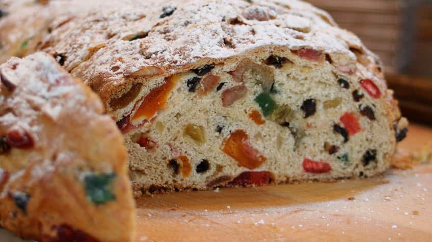 A close-up shot of a German fruitcake called