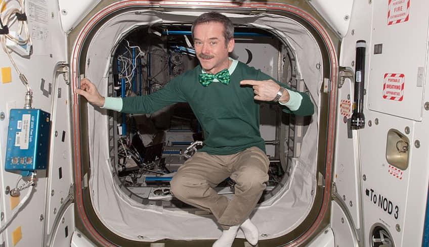 Chris Hadfield celebrates St. Patrick's Day on the International Space Station