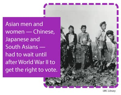 Asian women and men — Chinese, Japanese and South Asians — had to wait until after World War II to get the right to vote.