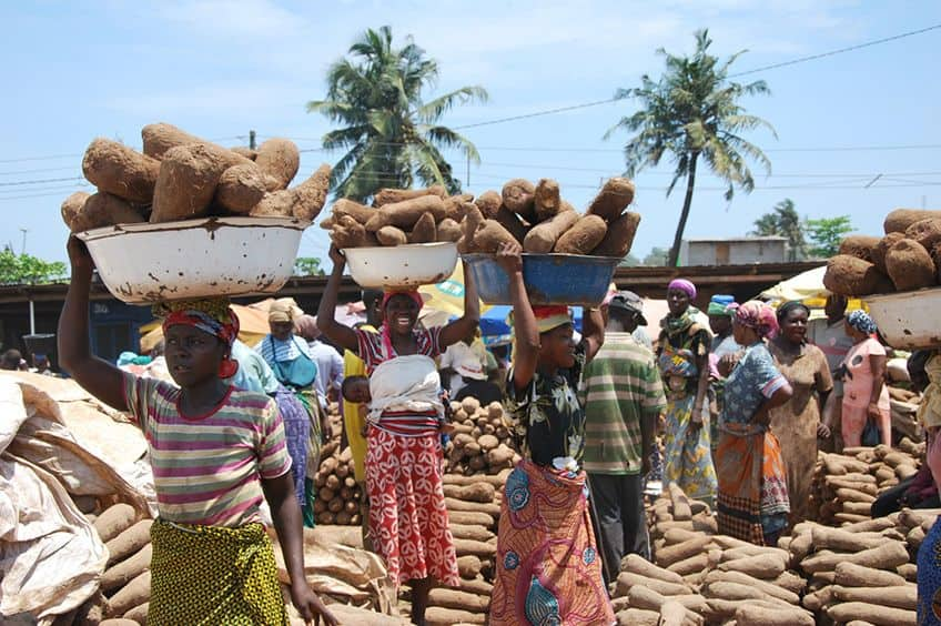 women with baskets of yams on their heads