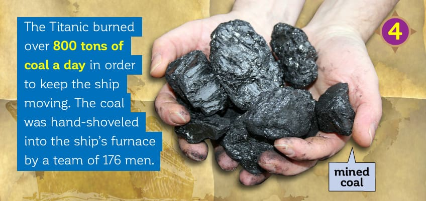 Titanic burned over 800 tons of coal a day. It was hand shoveled into the ship's furnace by a team of 176 men.