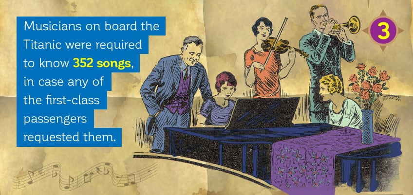 Musicians on board were required to know 352 songs, in case any of the first-class passengers requested them.