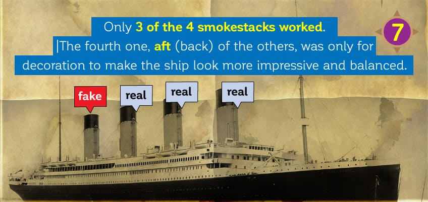Only 3 of the 4 smokestacks worked. The fourth one was only for decoration to make the ship look more impressive.