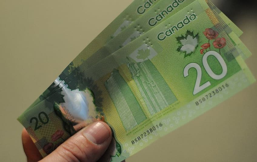 hand holding a couple of Canadian 20 dollar bills