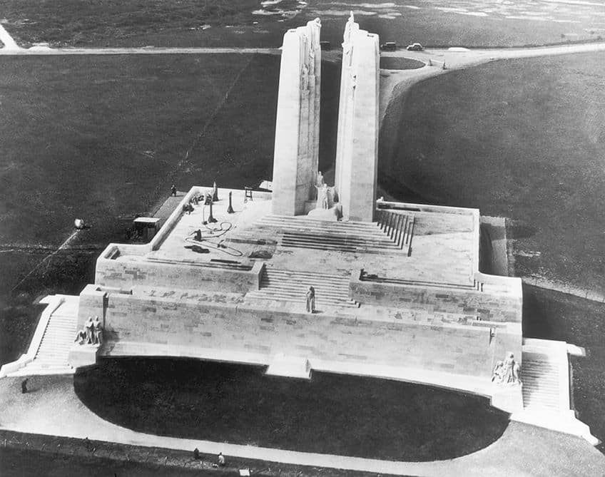 historical photo of the Vimy Memorial and its land as seen from above