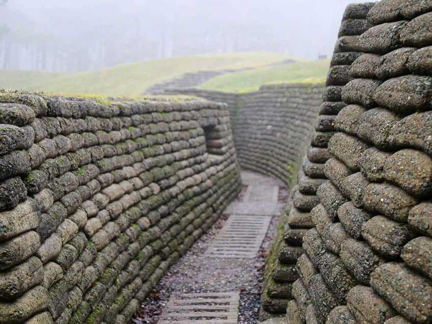 walking through the Canadian trenches