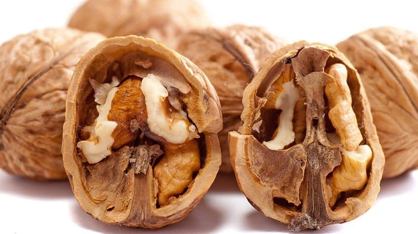 Walnuts crushed in half.