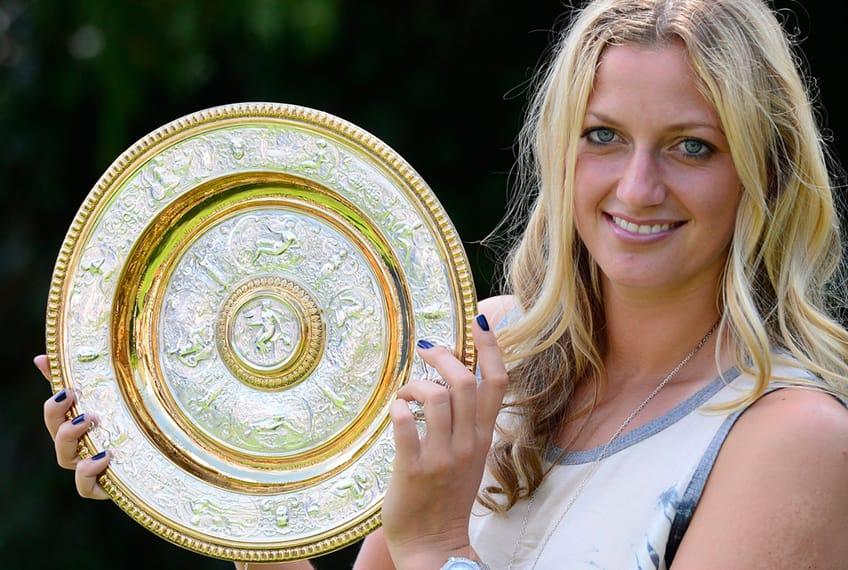 Petra Kvitova with Wimbledon trophy