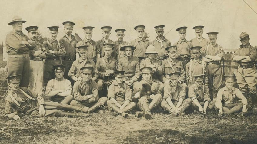 The 2nd Canadian Infantry Brigade with Winnie in the front row