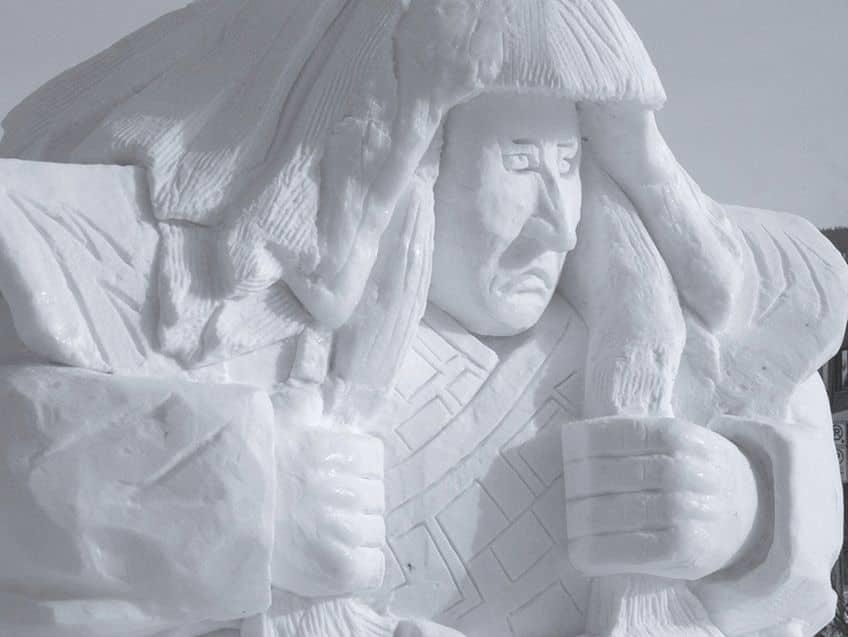 Japanese samurai snow sculpture