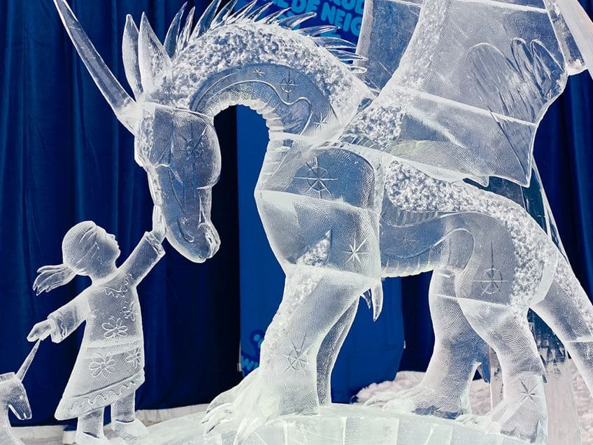 ice sculpture of a pegasus