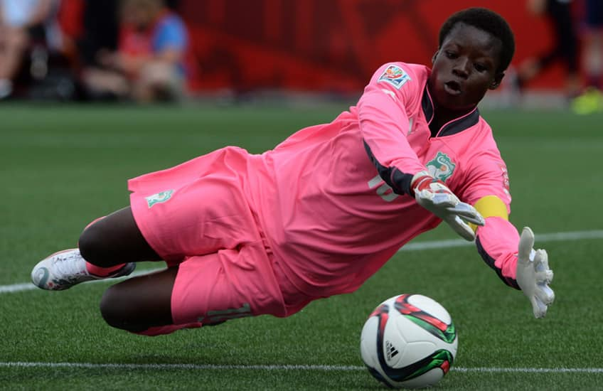 Cote D'Ivoires Dominique Thiamale makes a save during a game against Germany on June 7, 2015
