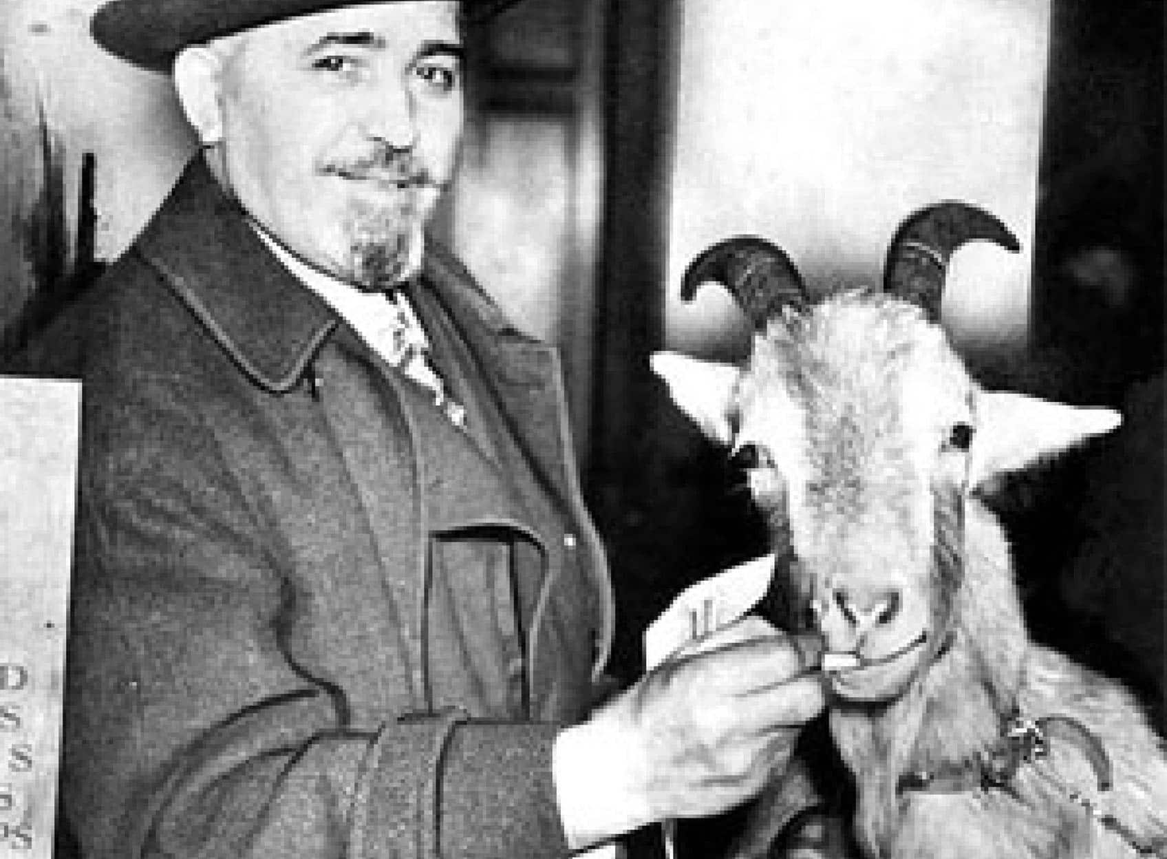 Photo of Billy Sianis and his pet goat