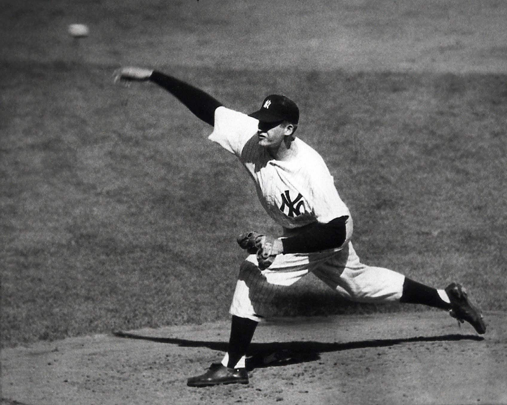 New York Yankees right-handed pitcher Don Larsen delivers a pitch in the fourth inning of Game 5 of the World Series