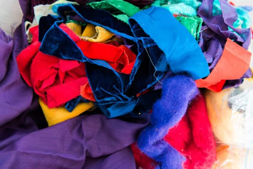 a pile of fabric strips
