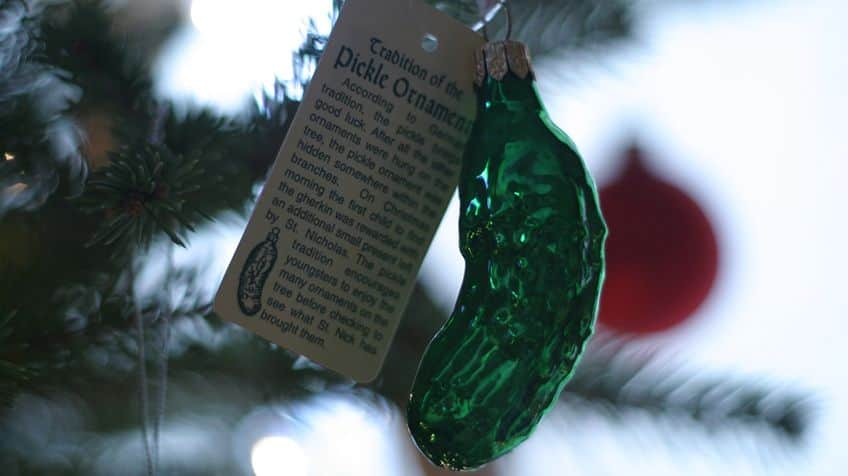 Pickle ornament in Christmas tree.