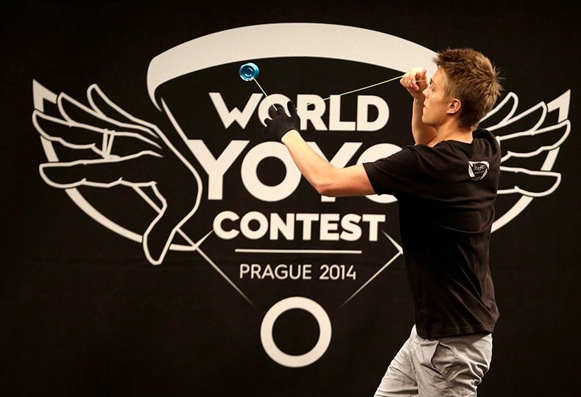 A player competes during the World Yo-Yo Contest in Prague