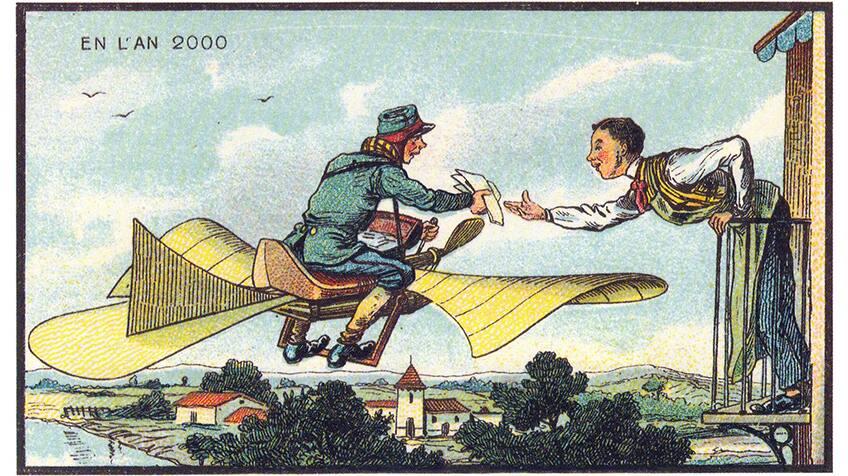 Postal worker in flying car delivering mail.