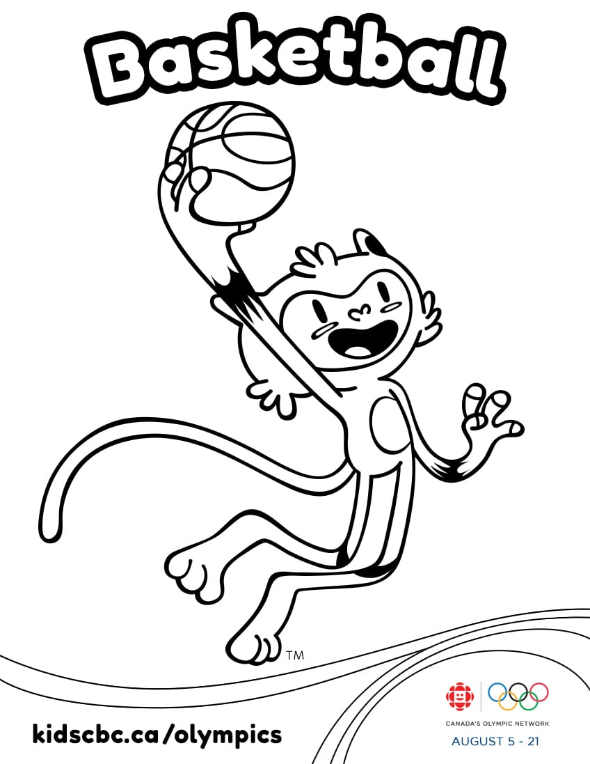 olympic games colouring sheet basketball