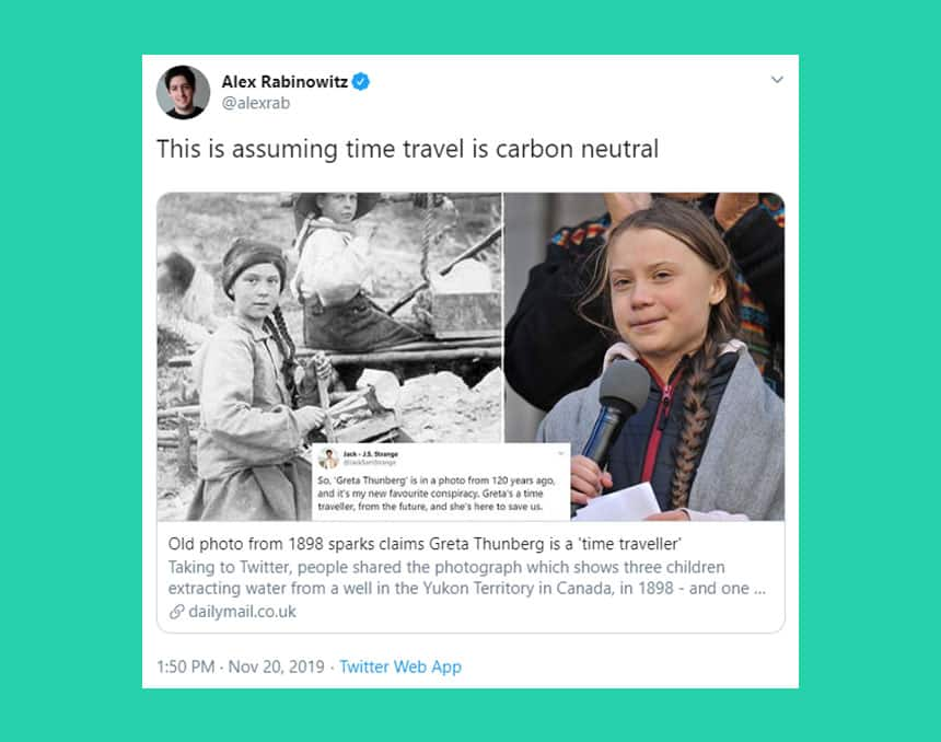 Tweet from Alex Rabinowitz says This is assuming time travel is carbon neutral.