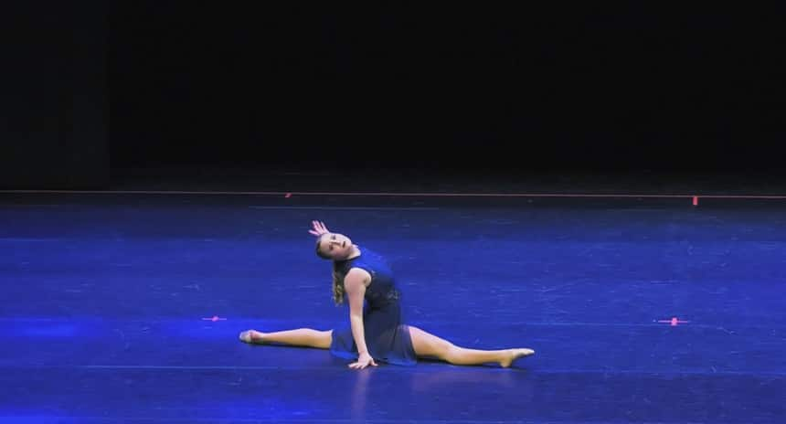 Alleigh-Jane Williamson, 17, on stage during a competitive dance competition.