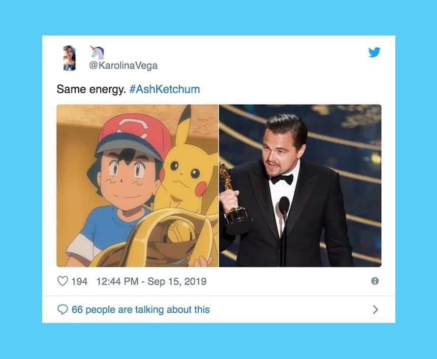 Tweet from Karolina Vega says Same energy over photo of Ash with trophy next to Leonardo DiCaprio holding an Oscar.